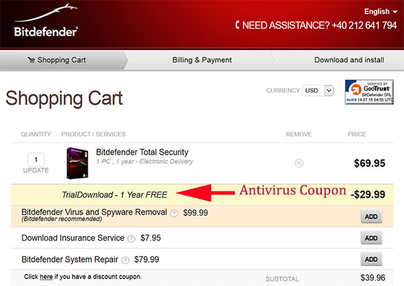Antivirus coupon code